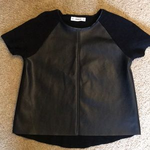 Zara Faux Leather Short Sleeve Sweater Size Small